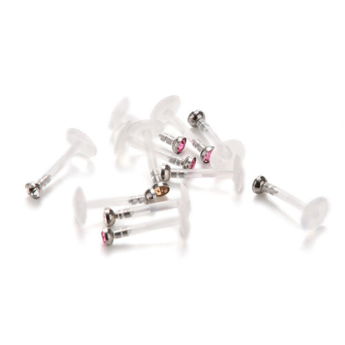 10 X Edelstahl Lippe Kinn Labret Bar Ring Stud Tragus Piercing ZF