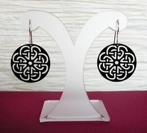 Keltischer Knoten Ohrringe Acryl Schwarz Gothic Schmuck - Neu