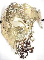 Gold Phantom Laser Cut Venetian Mask Masquerade Metal Men Skull Filigree