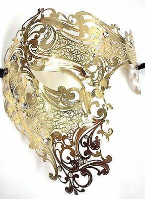 Gold Phantom Laser Cut Venetian Mask Masquerade Metal Men Skull Filigree