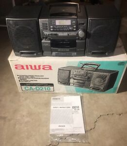 Aiwa-Model-CA-D210U-AM-FM-Stereo-Cassette-Player-CD-Player-Boombox-W-Box-Manual