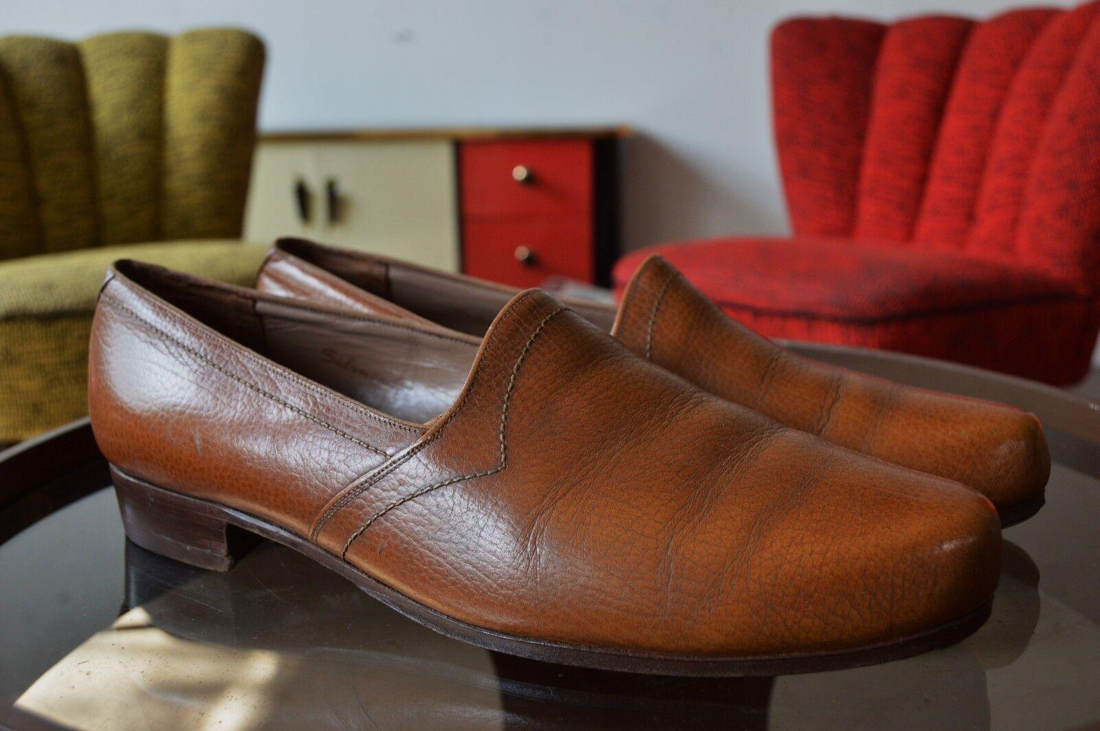 Salamander señores zapato bajo 50er True vintage 50´s Slipper loafer marrón de cuero