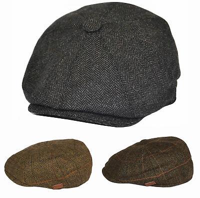 Cappello da Strillone Cappello di Lana da Uomo Herringbone In Tweed Gatsby Retro Piatto Caps Nero Oliva Marrone
