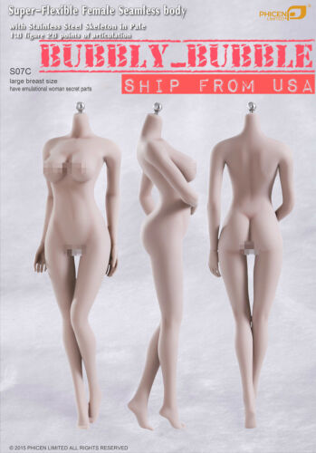 Phicen 1/6 Super-Flexible Seamless PALE Female Figure Body L Bust S07C ☆USA☆