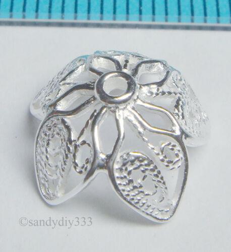2x grano de flor de filigrana de plata esterlina brillante Tapa 12.7mm N198