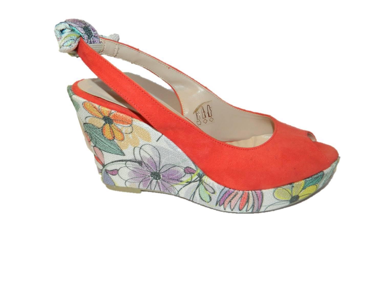 Cuña mujer ante coral piel zapatos de mujer Cuña made in Italy 6062d3