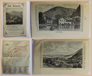 Orig-Prospekt-Bad-Reinerz-Hohenkurort-Glatz-Schlesien-um-1880-Duszniki-Zdroj-xz