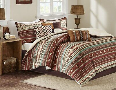 BROWN RED TAOS NATIVE SOUTHWESTERN SOUTHWEST RANCH 7pc Queen COMFORTER SET