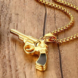 Men hip hop gold pendant gun design necklace titanium steel with image is loading men hip hop gold pendant gun design necklace aloadofball Image collections