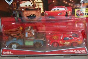Disney Pixar Cars 2 Pack Mater W No Tires Lightning Mcqueen W