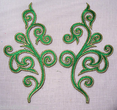 LOT de 2 ÉCUSSONS PATCH thermocollant SYMÉTRIQUE ARABESQUE DORÉ **18 x 9 cm**
