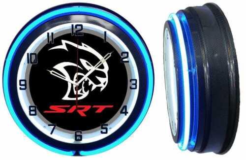 Dodge SRT Hellcat Black 18 Blue Neon Clock Charger Challenger Carbon Fiber