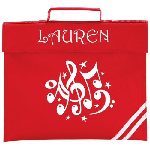 Colour Choice. Personalised MUSIC NOTES School BOOK BAG