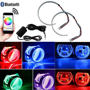 Bluetooth Wireless Remote RGB LED Demon Eye Halo Ring for Headlight Projector 2X