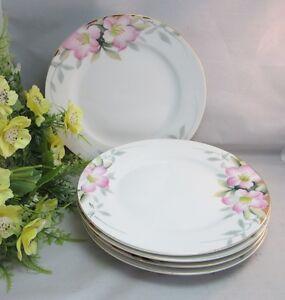 5-Gorgeous-hand-painted-Noritake-7-1-2-034-salad-plates-Pink-flowers-amp-gold-trim