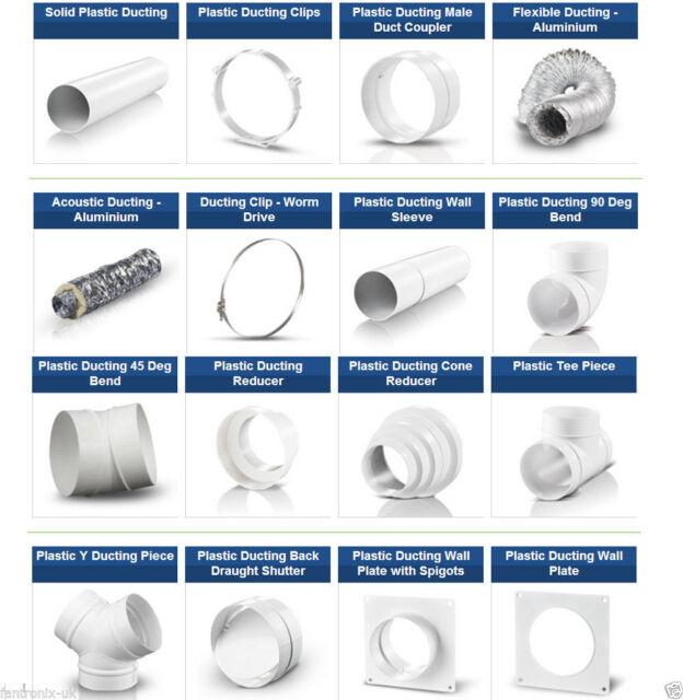 "4"" 100mm Plastic Ducting Fitting Bathroom Kitchen Extractor fan Kit Ventilation"