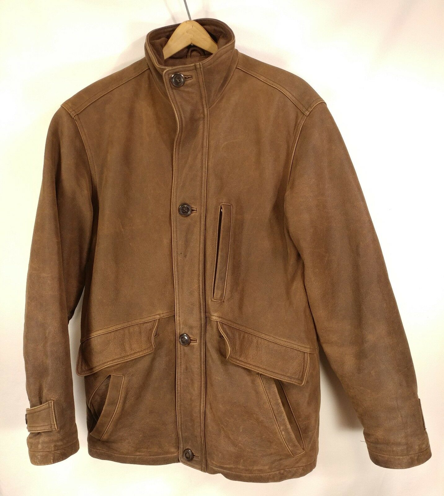 Herren Wilsons Leder Thinsulate Heavy Warm Braun Leder Coat - Small 42