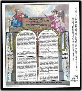 Bloc-Feuillet-1989-N-11-Timbres-France-Declaration-des-Droits-de-L-039-homme