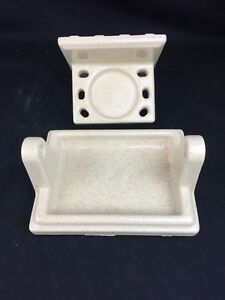 Details About A Vintage Ceramic Tile Bathroom Fixtures Toothbrush Toilet Paper Oatmeal Yellow