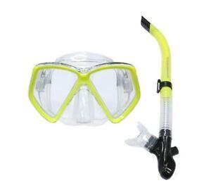 TYPHOON PRO ADULT SILICONE MASK & SNORKEL SET Scuba Dive Swim Snorkelling YELLOW