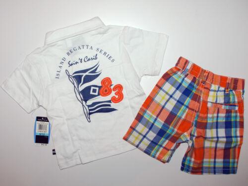 NAUTICA~T-Shirt+kurze Hose~USA~68-74-80~kariert orange~Polo~Shorts~weiss~Amerika