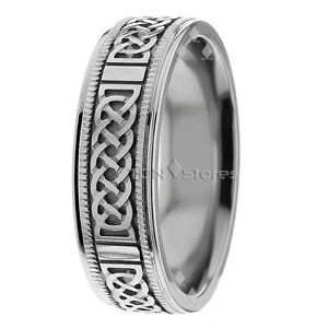 Image Is Loading 10k White Gold Mens Celtic Wedding Band Ring