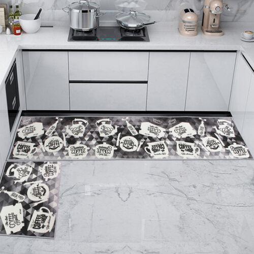 UK 2Pcs Kitchen Floor Carpet Non-Slip Area Rug Bathroom Door Entrance Mat Set