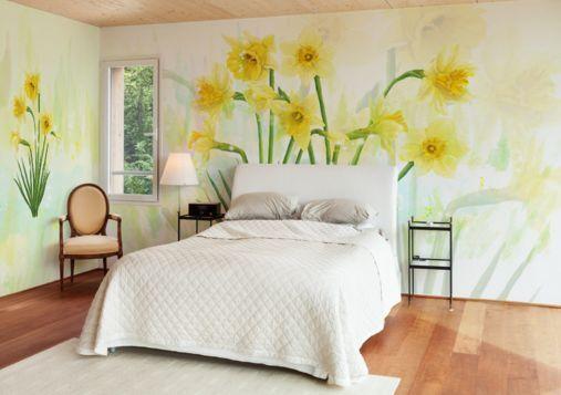 3D Gerade gelben Blüten 09 Fototapeten Wandbild Fototapete BildTapete Familie DE