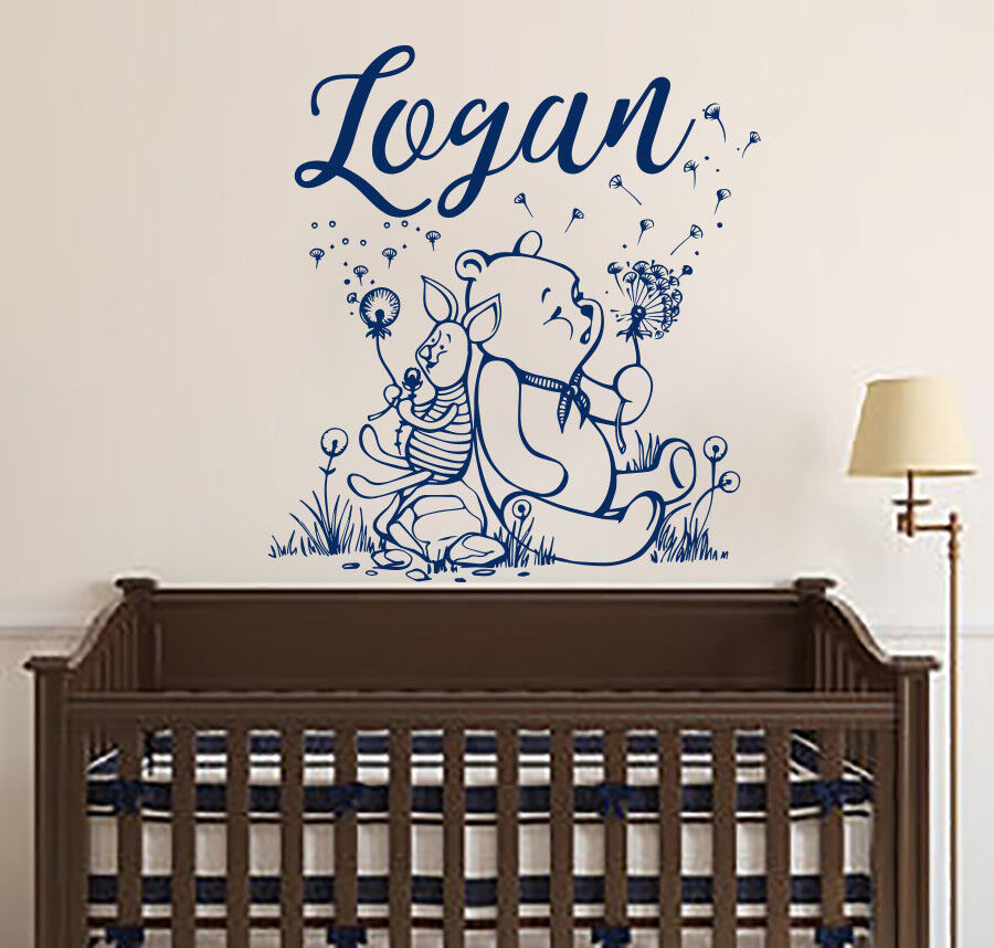 Name Wall Decals Winnie The Pooh Wall Decal Name Art Decals Vinyl Stickers S128