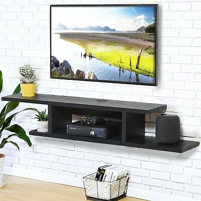 Fitueyes wood floating shelves wall mount tv stand media - Tv wall mount with shelf ...