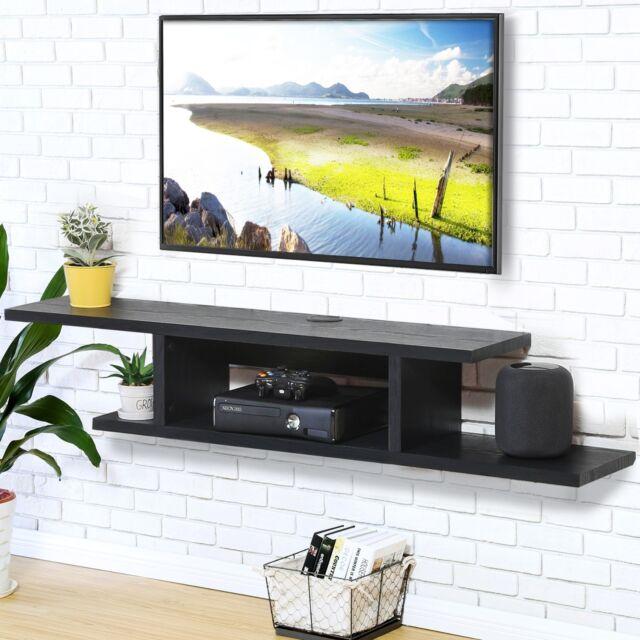 Floating Wall Mount Media Console Entertainment Center Tv Stand Av Shelves Wood