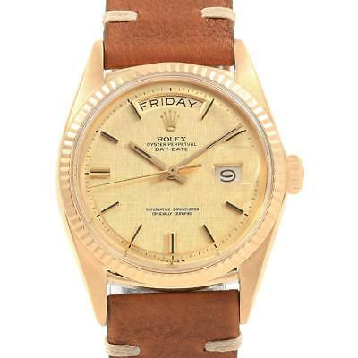 Rolex President Day-Date Yellow Gold Linen Dial Vintage Mens Watch 1803