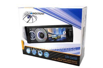 """Soundstream VR-345B 1 DIN DVD/CD/MP3 Player 3.4"""" Color LCD Bluetooth Front USB"""