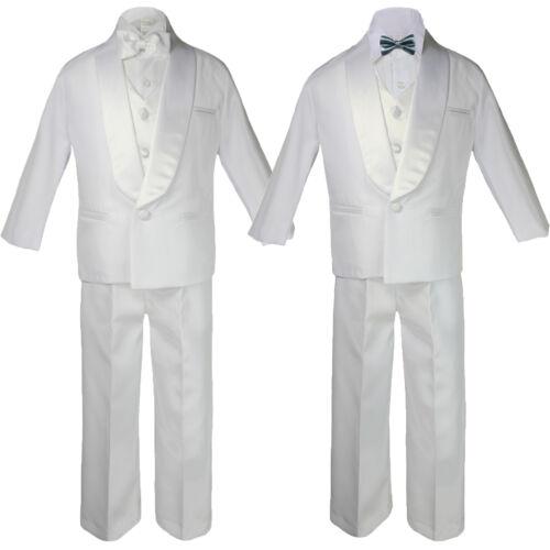 5-7pc Baby White Satin Shawl Lapel Suits Tuxedo DARK GRAY Satin Bow Necktie Vest