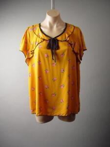 Mustard-Ditsy-Floral-Print-Vtg-y-Peter-Pan-Collar-Top-287-mv-Blouse-1XL-2XL-3XL
