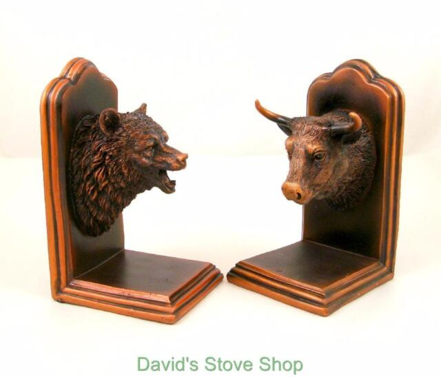 Ordinaire New Bull And Bear Head Bookends Bronze Plated Resin Sculpture Gift MH