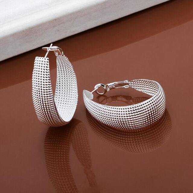 Female Pick Silver Alloy Statement  Hoop Ring Dangle Earrings ca