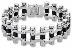Motorcycle-Chain-Bracelet-Stainless-Surgical-Steel-Black-Rubber-Heavy-9-25-inch