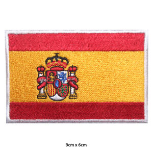 Spain National Flag Embroidered Patch Iron on Sew On Badge For Clothes etc