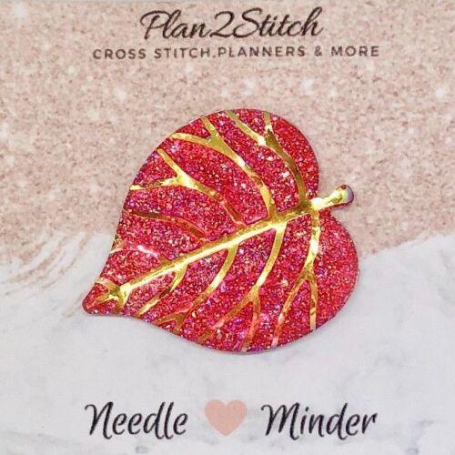 Rouge Brillant Feuille Needle Minder pour Point de Croix//Broderie