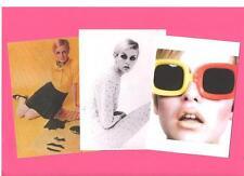 3 TWIGGY A4 CARD PRINTS.  Mod, Biba, Mary Quant, Pop art, 60's fashion.