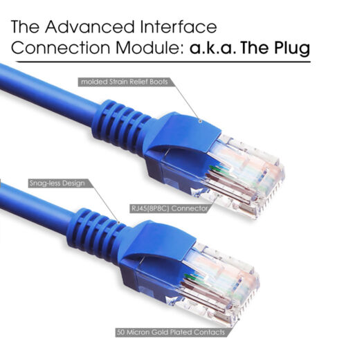 CAT6 75FT 24 AWG 550 MHZ UTP Solid Network Ethernet Cable Computer Lan Cord Blue
