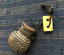 19th Cent Chinese Tobacco Pouch In Wood And Molded Skin with Toggle