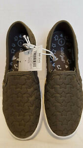 Cat-amp-Jack-Size-1-Little-Girls-Anna-Slip-Ons-in-Olive-Quilted-Stars