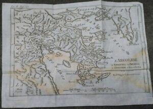 1790-GRECIA-BELLA-CARTA-GEOGRAFICA-DELL-039-ARGOLIDE-PELOPONNESO