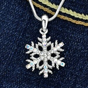 9a9dd11695 Image is loading Snowflake-Made-With-Swarovski-Crystal-Winter-Pendant-AB-