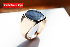 Men's Classic Signet Ring Black Onyx 18k Gold Plated Over Stainless Steel(USA)