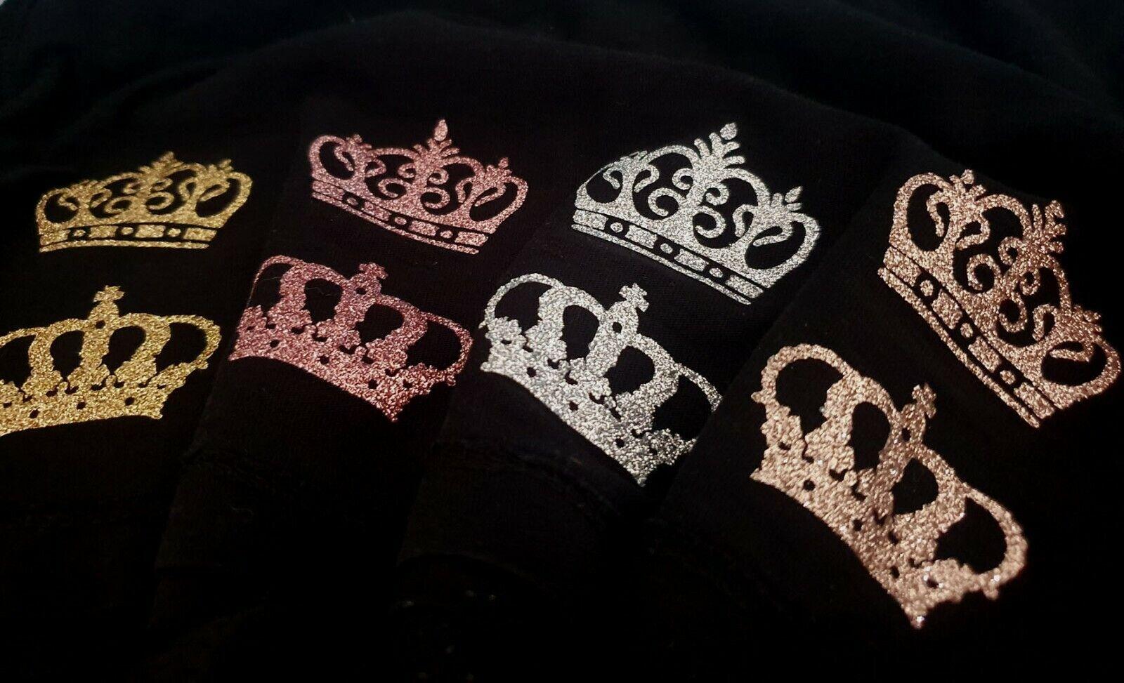 fabric glitter crown iron-on hotfix fancy costume tshirt transfer applique patch