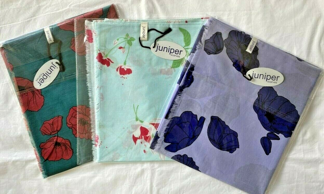 Floral scarf Red Poppy Blue Poppy Fuchsia Autumn leaves in cotton by Juniper