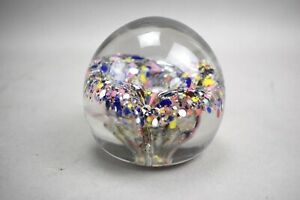 Glass-Paperweight-Round-Circle-Pink-Blue-Yellow-Multicolor-Clear-Flower
